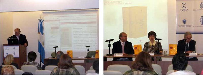 En la primera imagen, el Dr. Barcia presentando el devedé; en la segunda, de izquierda a derecha, el Dr. Barcia, la Dra. Alicia Zorrilla y el Sr. Alberto Díaz