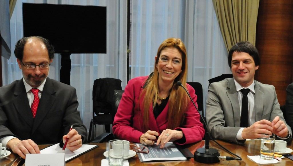 Secretario Roura, Ministra Giorgi y Subsecretario Elgarrista