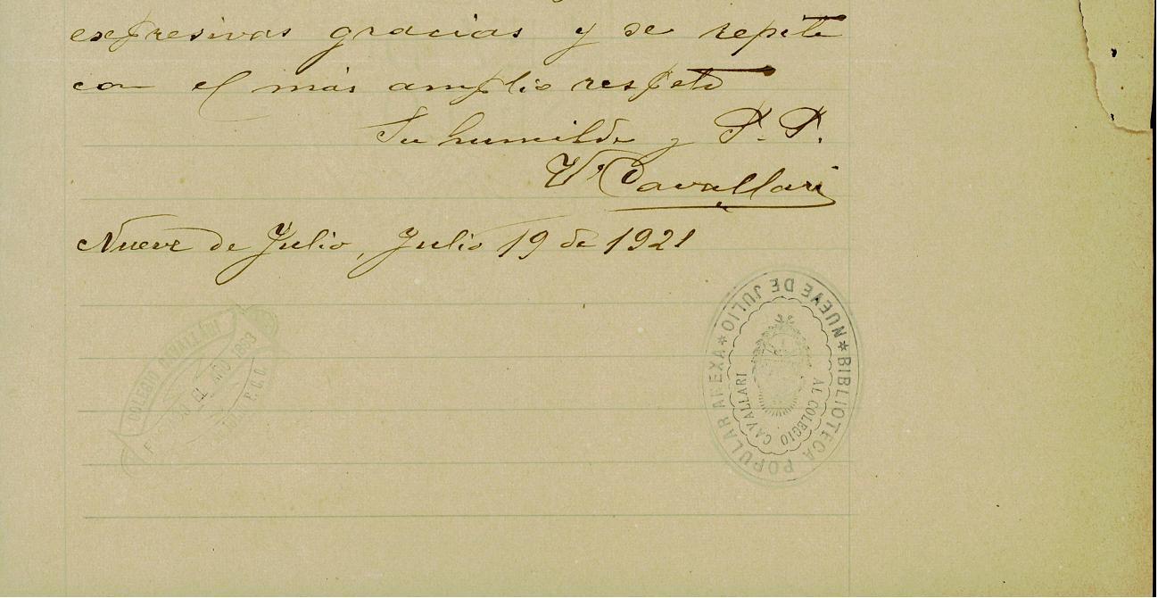 Detalle de la nota manuscrita de Victorio Cavallari al Congreso de la Nación.