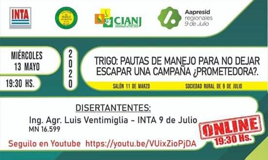 Hoy 19.30 hs charla por Youtube a cargo de Luis Ventimiglia